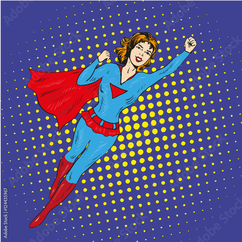 "Retro Superhero Art: ""Super Hero Woman Flying Vector Poster In Comic Retro Pop"