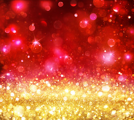 Christmas Bokeh - Golden Glitter With Shining Red Backdrop