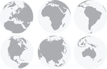 World continents map with circles inside