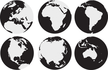 Fototapeta World continents map with circles inside  obraz