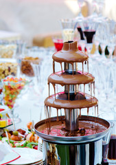 Reception with chocolate fountain