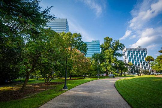 Walkway and modern buildings in Columbia, South Carolina.