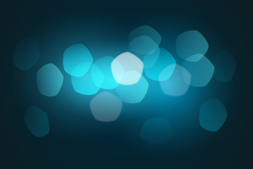 Blue bokeh background. Night Christmas winter the city is not in focus. Pentagon particles. Vector illustration.
