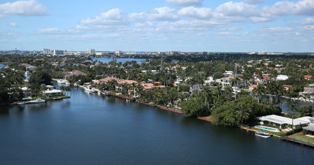Aerial view of Fort Lauderdale's skyline and waterway canals