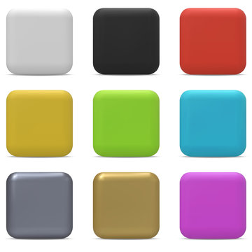 Color rounded square buttons isolated on white background.