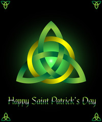 Saint Patrick's Day greeting card, banner & poster design template with triquetra, traditional Irish Trinity knot symbol, isolated on black background.