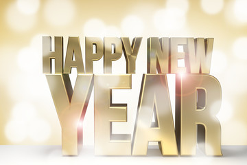 happy new year golden new year sylvester 3d render