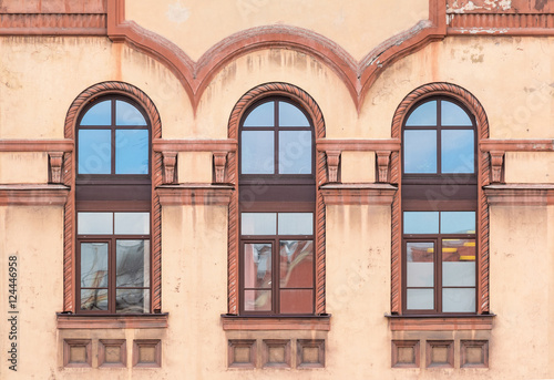 Three Windows In A Row On Facade Of St Petersburg Medical