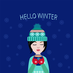 winter illustration cute girl with cup of coffee or tea in his h