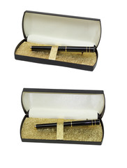 writing pen on a white background, pen in a case against a white
