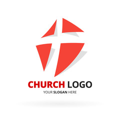 Christian church logo design with with red cross icon design isolated on white background. Vector illustration.