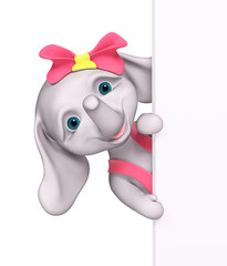 Cartoon character elephant with poster isolated 3d rendering