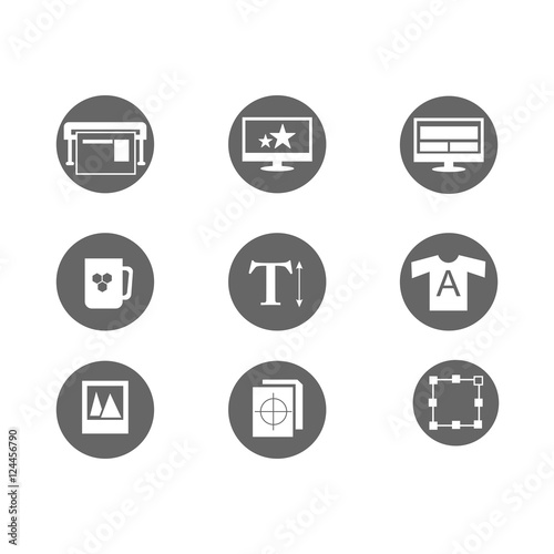 printing and design icons, mono vector symbols - vector