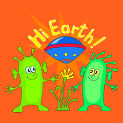 Two aliens with inscription Hi Earth