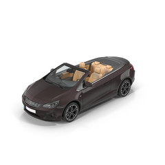 Convertible sedan car isolated on a white. 3D illustration