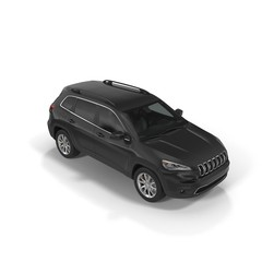 New black SUV car isolated on a white. 3D illustration