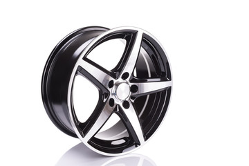 car alloy wheel, isolated over white background