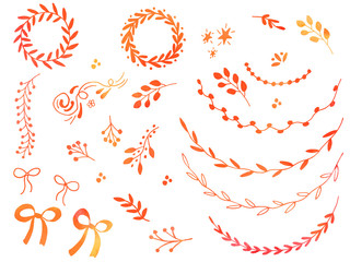 Collection of hand drawn doodle design elements with watercolor texture isolated on white background. Set of autumn handdrawn borders, laurel wreaths, floral dividers, ribbon, bow. Vector illustration