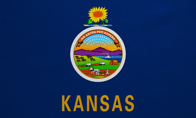 Flag of Kansas real detailed fabric texture