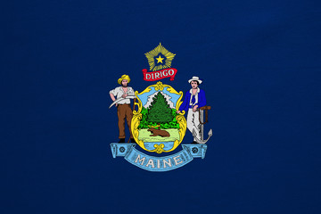 Flag of Maine real detailed fabric texture