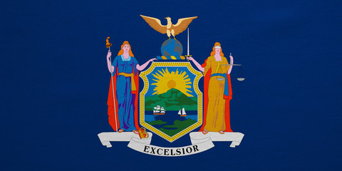 Flag of New York state, detailed fabric texture
