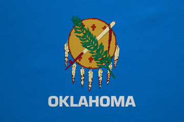 Flag of Oklahoma real detailed fabric texture