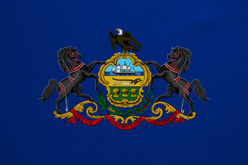 Flag of Pennsylvania real detailed fabric texture