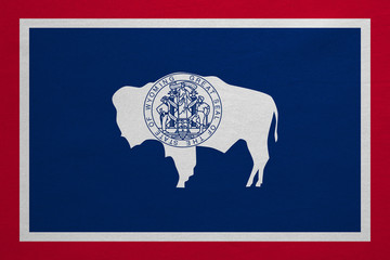 Flag of Wyoming real detailed fabric texture