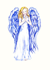 Innocent beautiful angel praying, hand painted watercolor illustration