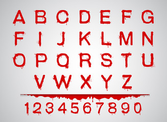 blood fonts set  alphabet blood set