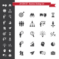 20 Icon Set. Business Strategy Set