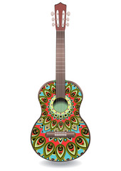 Guitar decorated with ethnic ornaments, design in the style of boho, oriental pattern. Painted colorful creative musical instrument. Vector illustration