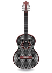 Guitar decorated with ethnic ornaments, design in the style of boho, oriental pattern. Painted monochrome creative musical instrument. Vector illustration