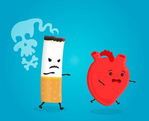 Smoking kill heart. Stop smoking concept. Cigarette kills. Vector flat cartoon character illustration