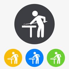 Icono plano jugador de billar en circulo varios colores