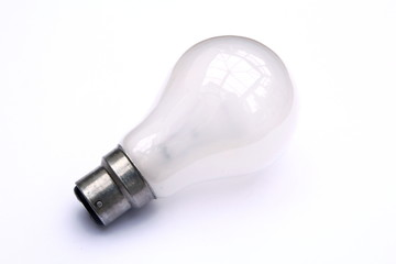 Incandescent tungsten pearl B22 bayonet fitting light bulb isolated on white