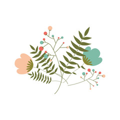 beautiful colorful flowers with green leaves. vector illustration