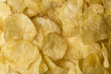 Potato chips background close-up