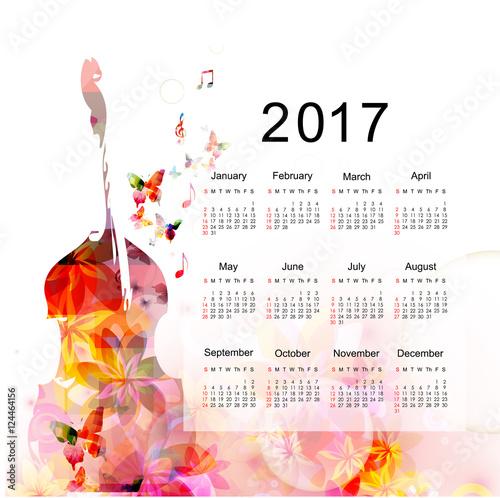 Calendar Planner 2017 Design Template With Colorful Violoncello