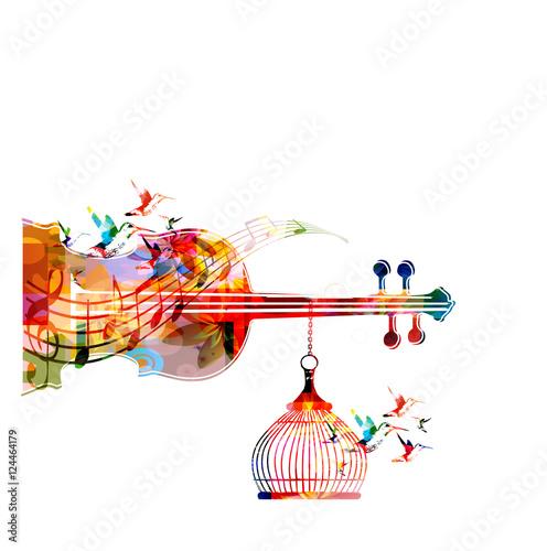 Music Template Vector Illustration Colorful Viloncello Creative