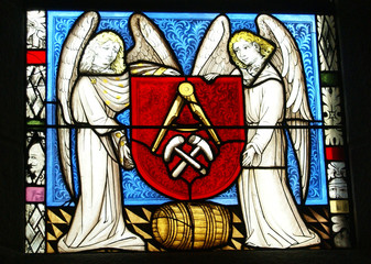 Stained glass, angels, religious scenes