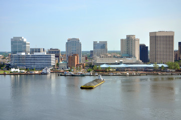Wall Murals Sydney Norfolk city skyline and Elizabeth River, Virginia, USA.
