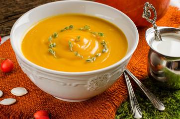 Pumpkin soup. Vintage style.