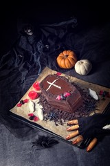 Halloween biscuit finger and cake coffin