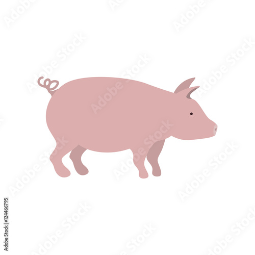 """""""silhouette color with pink pig vector illustration"""" Stock ..."""