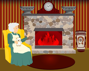 grandmother sews by the fireplace. Granny sews a toy in her chair. Home interior with fireplace.