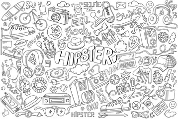 Hipster vector abstract illustration in cartoon style. Comics hand drawn elements and icons. Templates hipster elements for your design or background.