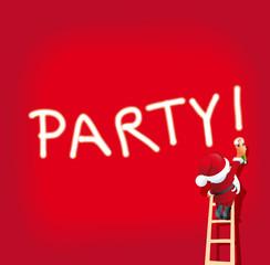 Grafik Santa Claus sprayt Party auf roter Fläche