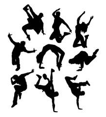 Male and Female Hip Hop Dancer Silhouette, illustration art vector design