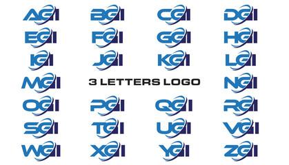 3 letters modern generic swoosh logo AGI, BGI, CGI, DGI, EGI, FGI, GGI, HGI,IGI, JGI, KGI, LGI, MGI, NGI, OGI, PGI, QGI, RGI, SGI, TGI, UGI, VGI, WGI, XGI, YGI, ZGI